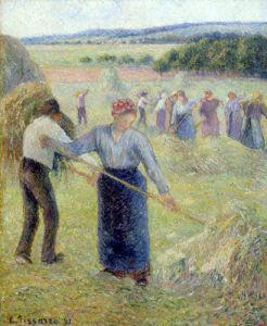 Fenaison a Eragny, 1891 by Camille Pissarro