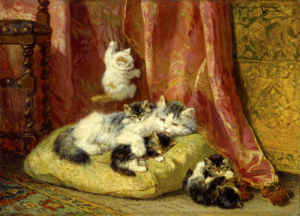 A Cat with Playful Kittens by Henriette Ronner-Knip