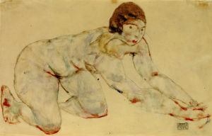Crouching Female Nude, 1914 by Egon Schiele