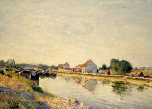 Chalands sur le Loing, 1884 by Alfred Sisley