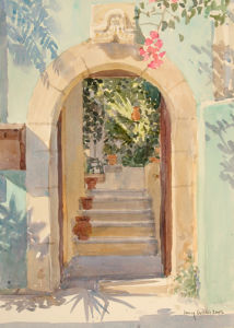 Door in a Turquoise Wall by Lucy Willis