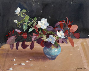 Philadelphus and Burning Bush by Lucy Willis