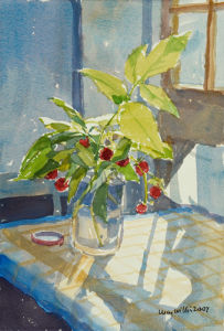 Raspberries in a Jam Jar by Lucy Willis
