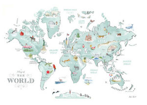 Illustrated World Map by Alice Tait