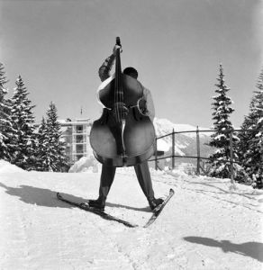 Skiing with Cello by Anonymous
