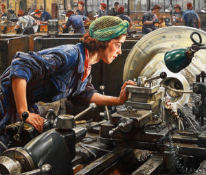Ruby Loftus screwing a Breech-ring by Dame Laura Knight