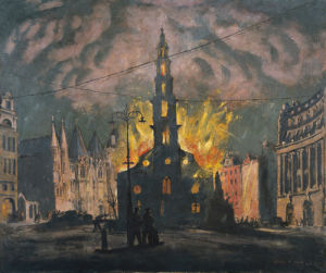 St Clement Dane's Church on Fire by Henry Carr