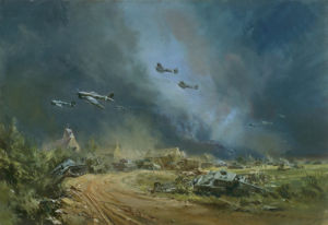 Rocket-firing Typhoons, 1944 by Frank Wootton