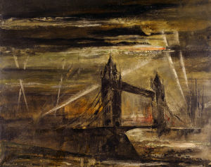 A Flying-bomb over Tower Bridge by Frederick T.W. Cook