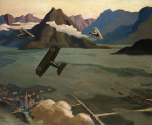 British Scouts leaving their Aerodrome, 1918 by Sydney W Carline
