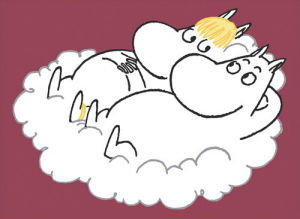 Moomintroll and Snorkmaiden on a Cloud by Tove Jansson