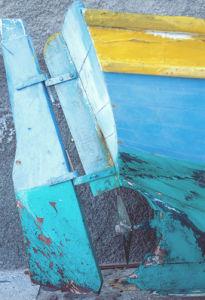 Shabby Chic blue rudder by Kim Sayer