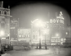 Piccadilly Circus at night, 1920s by Anonymous