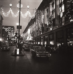 Selfridges at Christmas by night (1) by Anonymous