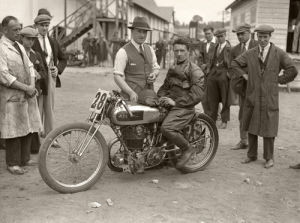 Nigel Spring and Bert Denly with AJS, Brooklands by Anonymous