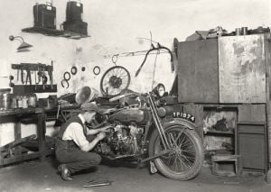 Harley Davidson in workshop by Anonymous