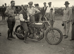 Chris Staniland on Racing Excelsior, Brooklands by Anonymous