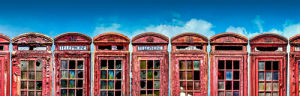 Rusted Red Phone Boxes by Henry Reichhold