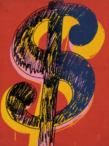Dollar Sign, 1981 (black & yellow on red) by Andy Warhol