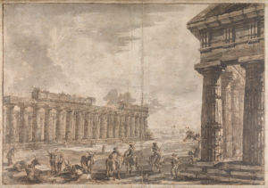 Paestum, Italy, Basilica with Temple of Neptune in the right foreground, Exteriors by Giovanni Battista Piranesi