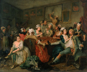 A Rake's Progress III: The Orgy by William Hogarth