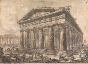 Paestum, Italy, Exterior of the Temple of Neptune from the North-East by Giovanni Battista Piranesi