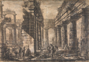 Paestum, Italy, Interior of the Temple of Neptune from the North by Giovanni Battista Piranesi