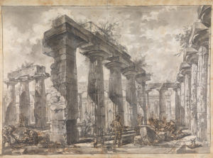 Paestum, Italy, Interior of the Basilica from the South by Giovanni Battista Piranesi