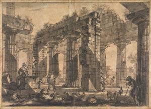 Paestum, Italy, Interior of the Temple of Neptune from the North-East by Giovanni Battista Piranesi