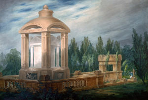 Perspective design showing the Soane family tomb in an imaginary landscape. by Joseph Michael Gandy