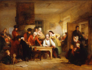 The Smoking House at Chelsea Hospital: Pensioners Describing the Battle of Corunna by George Jones