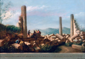 View of the Remains of the Temple (supposed to be of Castor and Pollux) in Agrigentum (5 of 6) by Luigi Mayer