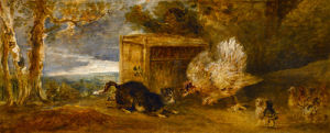 A Hen Defending Her Chickens from the Attack of a Cat by Peter Francis Bourgeois