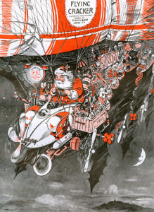 Santa's Aerial Car, 1907 by Anonymous