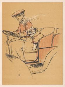 Woman and bulldog in open car, 1905 by Cecil Aldin