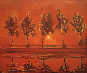 Trees on the Gein: Moonrise, 1908 by Piet Mondrian
