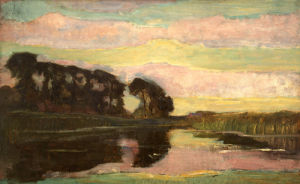 River Landscape with Pink and Yellow-green Sky, c.1907-08 by Piet Mondrian