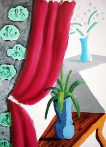 Still Life with Magenta Curtain, 1988 by David Hockney