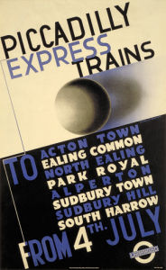Piccadilly express trains, 1932 by Edward McKnight Kauffer
