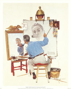 Triple Self-Portrait by Norman Rockwell