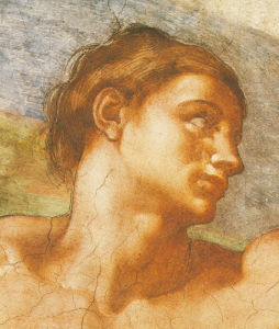 Portrait: Sistine Chapel - Adam by Michelangelo