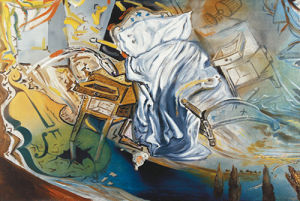 A Bed And Two Night Tables Attack Ferociously And Violently, 1983 by Salvador Dali