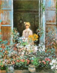 Camille Monet at the Window, Argenteuil 1873 by Claude Monet