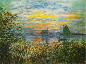 Sunset at Lavacourt, 1880 by Claude Monet