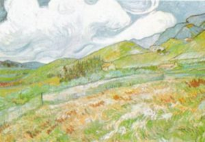 Oat Field with Mountains Behind by Vincent Van Gogh