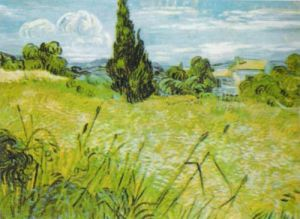 Oat Field with Cypress by Vincent Van Gogh
