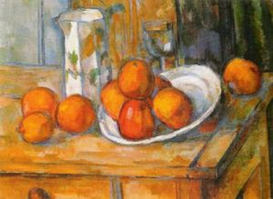 Kettle, Glass and Plate with Fruit by Paul Cezanne