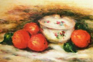 Still Life with Covered Dish and Orange by Pierre Auguste Renoir
