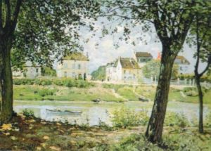 Village on the Banks of the Seine by Alfred Sisley
