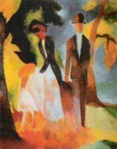 Leute am Blauen See, 1913 by August Macke